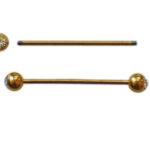 Stab, 2 Strasskugeln, 22 mm, goldfarbig