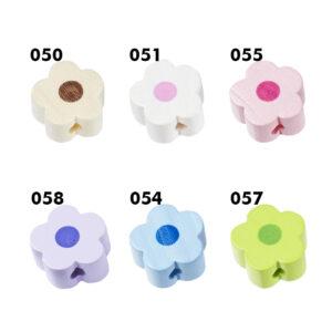 Holzblume für Schnullerkette, 16mm, 2 St., verschiedene Farben (schweiss- und speichelfest)