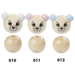 Bärenkopf mit Körper für Schnullerkette, 26mm, verschiedene Farben (schweiss- und speichelfest)