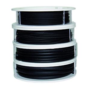 Kautschukband, schwarz, verschiedene Stärken (1.2mm/1.9mm/2.9mm/4.0mm) auf Rolle