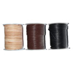Lederband (Rind) 2mm, 25 Meter auf Rolle, natur, braun oder schwarz