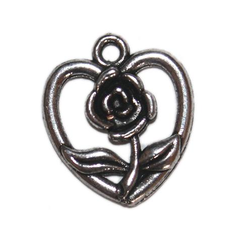 Anhänger Herz m.Rose 20mm antiksilber