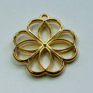 Anhänger Blume 36mm goldfarbig