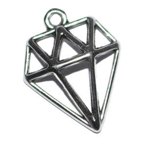Anhänger Diamant 21x19mm antiksilber
