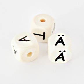 Holzwürfel mit Buchstaben für Schnullerkette, 10mm, Ahorn natur (schweiss- und speichelfest)