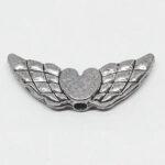 Engelsflügel mit Herz, 18mm, silberfarben