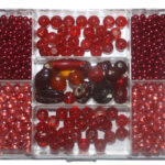 Glasperlen-Set, 120 Gramm in Rechteckdose, 6 verschiedene Farben