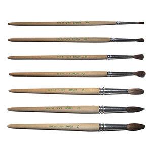 Pinselset mit 6 unterschiedlichen Aquarellpinseln (Größe 1, 3, 4, 5, 10, 14), aus Naturhaar