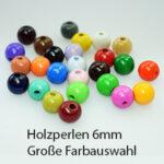 Holzperlen rund, 6mm, 125 St., schweiss- und speichelfest, verschiedene Farben