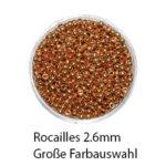 Rocailles Metallic Glasperlen, 2.6mm rund, 15g im Döschen, verschiedene Farben
