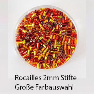 Rocailles Stifte, 2mm Glasperlen-Mix, 15g im Döschen, verschiedene Farben