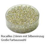 Rocailles Glasperlen mit Silbereinzug, 2.6mm rund, 17g im Döschen, verschiedene Farben
