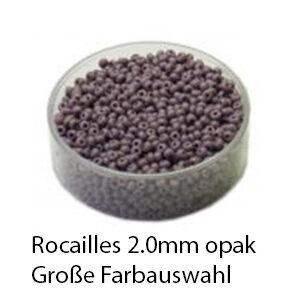 Rocailles Glasperlen opak, 2.0mm rund, 17g im Döschen, verschiedene Farben