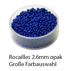 Rocailles Glasperlen opak, 2.6mm rund, 17g im Döschen, verschiedene Farben