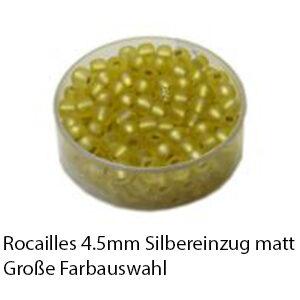 Rocailles Glasperlen mit Silbereinzug matt, 4.5mm rund, 17g im Döschen, verschiedene Farben