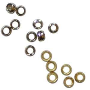 Quetschperlen 2.3mm, 1g ca. 37 Stück / 5g ca. 185 Stück, in 2 Farben (Silber und Gold)