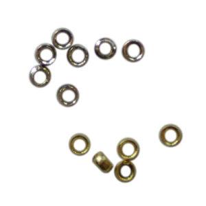 Quetschperlen 2.0mm, 1g ca. 60 Stück / 5g ca. 300 Stück, 2 Farben (Silber und Gold)