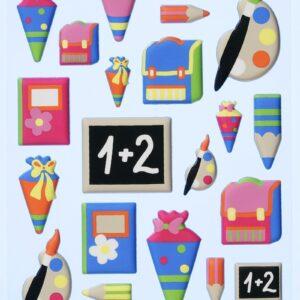 3D SOFTY Sticker-Set Schule/Einschulung, 30 Aufkleber für Partys oder zum Dekorieren