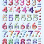 3D SOFTY Sticker-Set Zahlen und Rechenzeichen, ca. 80 Aufkleber für Partys oder zum Dekorieren