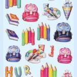 3D SOFTY Sticker-Set Schule/Einschulung III, 30 Aufkleber für Partys oder zum Dekorieren