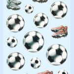 3D SOFTY Sticker-Set Fußball, 22 Aufkleber für Partys oder zum Dekorieren