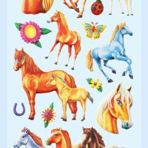 3D SOFTY Sticker-Set Pferde II, 18 Aufkleber für Partys oder zum Dekorieren