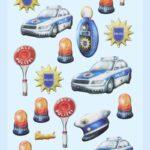 3D SOFTY Sticker-Set Polizei, 21 Aufkleber für Partys oder zum Dekorieren