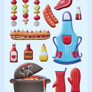 3D SOFTY Sticker-Set Grill-Party, ca. 20 Aufkleber für BBQ Partys oder zum Dekorieren