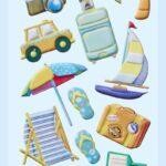 3D SOFTY Sticker-Set Urlaub, 13 Aufkleber für Partys oder zum Dekorieren