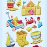 3D SOFTY Sticker-Set Strand-Urlaub, 14 Aufkleber für Partys oder zum Dekorieren