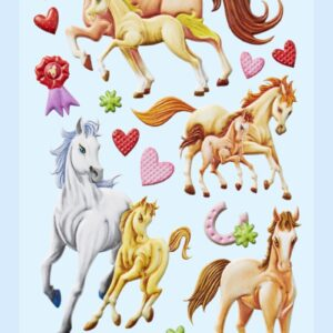 3D SOFTY Sticker-Set Pferde I, 19 Aufkleber für Partys oder zum Dekorieren