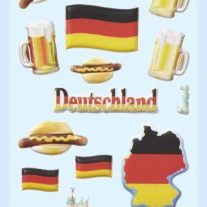 3D SOFTY Sticker-Set Deutschland, ca. 15 Aufkleber für Partys oder zum Dekorieren