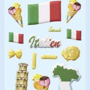 3D SOFTY Sticker-Set Italien, ca. 15 Aufkleber für Partys oder zum Dekorieren