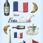 3D SOFTY Sticker-Set Frankreich, ca. 15 witzige Aufkleber für Partys oder zum Dekorieren