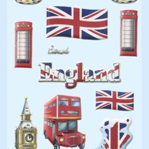 3D SOFTY Sticker-Set England/Großbritannien, ca. 15 Aufkleber für Partys oder zum Dekorieren