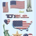 3D SOFTY Sticker-Set USA, ca. 15 Aufkleber für Partys oder zum Dekorieren