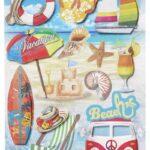 Sticker-Set Beach, attraktive Aufkleber für Partys oder zum Dekorieren