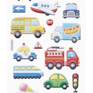3D SOFTY Sticker-Set Fahrzeuge-Flugzeuge, 18 Aufkleber für Partys oder zum Dekorieren