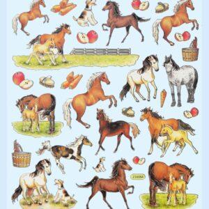 Sticker-Set Pferde, 1 Bogen 15×16,5 cm mit attraktiven Aufkleber für Partys oder zum Dekorieren