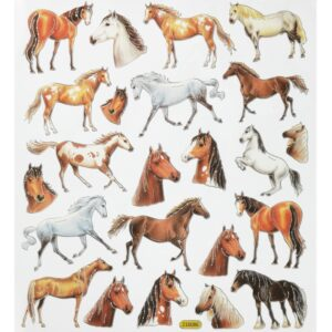Sticker-Set Pferde II, 1 Bogen 15×16,5cm mit attraktiven Aufklebern für Partys oder zum Dekorieren