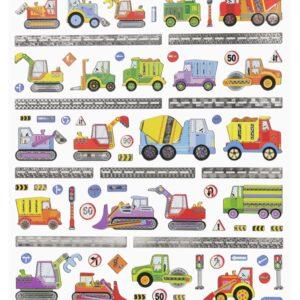 Sticker-Set Baufahrzeuge, attraktive Aufkleber für Partys oder zum Dekorieren