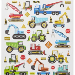 Sticker-Set Baufahrzeuge II, attraktive Aufkleber für Partys oder zum Dekorieren
