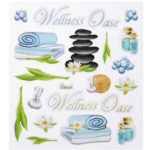Sticker-Set Wellness, ca. 18 attraktive Aufkleber für Partys oder zum Dekorieren