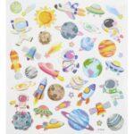 Sticker-Set Raumfahrt, ca. 38 attraktive Aufkleber für Partys oder zum Dekorieren