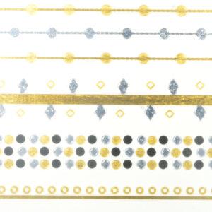 Shiny Tattoos gold-siber-schwarz 16x8cm, metallische temporäre Tätowierungen
