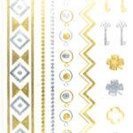 Shiny Tattoos gold-silber 16 x 8cm, verschiedene metallische temporäre Tätowierungen
