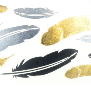 Tattoos Federn gold-silber-schwarz 16x8cm, metallische temporäre Tätowierungen