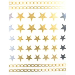 Shiny Tattoos Sterne gold-silber-schwarz 16x8cm, metallische temporäre Tätowierungen