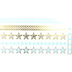 Shiny Tattoos Sterne gold-silber-blau 20x9cm, metallische temporäre Tätowierungen