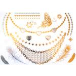 Shiny Tattoos gold-silber 20x15cm, metallische temporäre Tätowierungen
